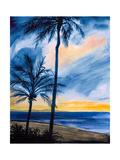 Blue Tropic Nights I Premium Giclee Print by Linda Baliko