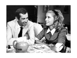 Catherine Deneuve and Roger Vadim Having a Cup of Tea in 1960 Photographic Print by  DR