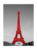 Paris in the Day in Red Border Poster by Emily Navas