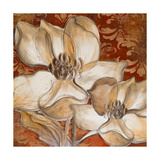 Whispering Magnolia on Red I Premium Giclee Print by Lanie Loreth