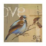 Blue Love Birds II Reproduction giclée Premium par Patricia Quintero-Pinto