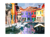 Burano Village Premium Giclee Print by Shelley Lake