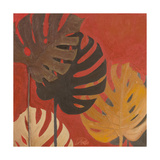 My Fashion Leaves on Red II Giclee Print by Patricia Pinto