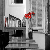 Parisian Cafe with Red Border Photographic Print by Alison Jerry