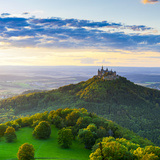 Hohenzollern Castle and Sourrounding Countryside Illuminated at Sunset, Swabia, Baden Wuerttemberg Photographic Print by Doug Pearson