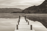 Frosty Jetty on Ullswater at Dawn, Lake District, Cumbria, England. Winter (November) Photographic Print by Adam Burton