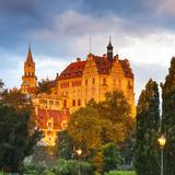 Sigmaringen Castle Illuminated at Sunrise, Swabia, Baden Wurttemberg, Germany, Europe Photographic Print by Doug Pearson