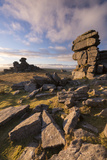 Rich Evening Sunlight at Great Staple Tor, Dartmoor National Park, Devon, England. Winter (January) Photographic Print by Adam Burton