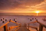 Sundown at Beach, Sylt Island, Northern Frisia, Schleswig-Holstein, Germany Photographic Print by Sabine Lubenow