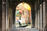 Italy, Veneto, Venice. Gondola Passing on Grand Canal Seen from a Colonnade Photographic Print by Matteo Colombo