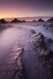 Broken Rock Ledges at Hartland Quay, North Devon, England. Winter Photographic Print by Adam Burton