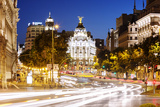 Spain, Madrid. Street View with Metropolis Building and Light Trails Photographic Print by Matteo Colombo