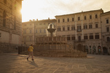 Woman Walking Past Fontana Maggiore in Piazza Iv Novembre at Dawn Perugia, Umbria, Italy Photographic Print by Ian Trower