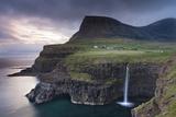 Dramatic Coastal Scenery at Gasadalur on the Island of Vagar, Faroe Islands. Spring Photographic Print by Adam Burton