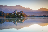 Bled Island with the Church of the Assumption and Bled Castle Illuminated at Dusk, Lake Bled Photographic Print by Doug Pearson