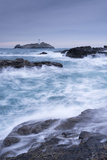 Crashing Atlantic Waves Near Godrevy Lighthouse, Cornwall, England. Winter (February) Photographic Print by Adam Burton