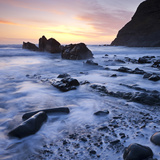 High Tide on Duckpool Beach at Sunset, North Cornwall, England. Spring Photographic Print by Adam Burton