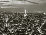 Dusk View over Eiffel Tower and Paris, France Photographic Print by Peter Adams