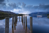 Wooden Jetty and Yacht on Derwent Water Near Lodore, Lake District, Cumbria Photographic Print by Adam Burton