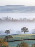 Mist Covered Countryside in the Exe Valley Just North of Exeter, Devon, England. Winter Photographic Print by Adam Burton