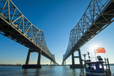 Louisiana, New Orleans, Twin Cantilever Bridges, Mississippi River, Tugboat Photographic Print by John Coletti