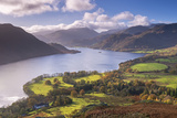 Ullswater from Gowbarrow Fell, Lake District National Park, Cumbria, England. Autumn Photographic Print by Adam Burton