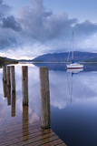 Yacht Moored Near Lodore Boat Launch on Derwent Water, Lake District, Cumbria Photographic Print by Adam Burton