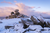 Sunrise Above Covered Rocks at Great Staple Tor, Dartmoor, Devon, England. Winter Photographic Print by Adam Burton