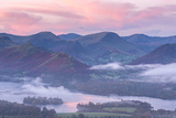 Misty Sunrise over Derwent Water and the Newlands Valley, Lake District, Cumbria Photographic Print by Adam Burton