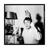 Raymond Devos with Two Parrots in Colmar, August 3968 Photographic Print by Marcel Begoin