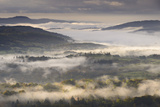 Mist Covered Lake District Countryside at Dawn, Cumbria, England. Autumn (October) Photographic Print by Adam Burton