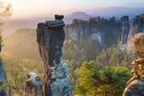 The Bastei in the Background, Elbe Sandstone Mountains, Saxon Switzerland, Germany Fotografie-Druck von Peter Adams