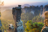 The Bastei in the Background, Elbe Sandstone Mountains, Saxon Switzerland, Germany Photographic Print by Peter Adams