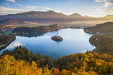 Lake Bled and the Julian Alps Illuminated at Sunrise, Lake Bled, Bled, Upper Carniola, Slovenia Photographic Print by Doug Pearson