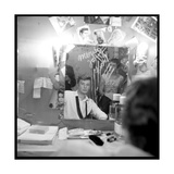 Johnny Hallyday Looking at Himself in a Mirror, Backstage Photographic Print by Marcel DR