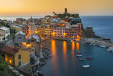 Top View at Sunrise of the Picturesque Sea Village of Vernazza, Cinque Terre, Liguria, Italy Photographic Print by Stefano Politi Markovina