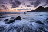 Dusk on the Rocky Shores of Speke's Mill Mouth in North Devon, England. Summer Photographic Print by Adam Burton