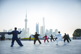 Tai Chi on the Bund (With Pudong Skyline Behind), Shanghai, China Photographic Print by Jon Arnold