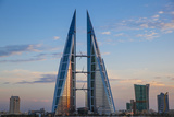 Bahrain, Manama, Bahrain Bay, Bahrain World Trade Center and City Skyline Photographic Print by Jane Sweeney