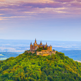 Hohenzollern Castle and Surrounding Countryside at Sunrise, Swabia, Baden Wuerttemberg Photographic Print by Doug Pearson