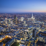Night Aerial View of the Shard and City of London, London, England Photographic Print by Jon Arnold