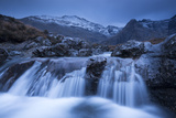 Fairy Pools Waterfalls at Glen Brittle, with the Snow Dusted Cuillin Mountains Beyond, Isle of Skye Photographic Print by Adam Burton