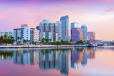 Florida, Tampa, Skyline, Dawn, Hillsborough River Photographic Print by John Coletti