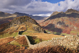 Drystone Wall on Lingmoor Fell Looks Towards Side Pike and Langdale Valley, Lake District, Cumbria Photographic Print by Adam Burton