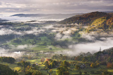 Morning Mist Float Above Countryside Near the River Brathay, Lake District National Park, Cumbria Photographic Print by Adam Burton