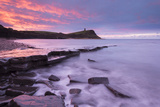 Colourful Dawn Sky Above Kimmeridge Bay on the Jurassic Coast, Dorset, England. Winter Photographic Print by Adam Burton