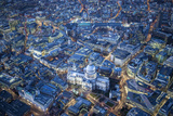 Aerial View over St. Paul's Cathedral, at Night London, England Photographic Print by Jon Arnold