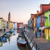 Italy, Veneto, Venice, Burano. Sunset in the Town Fotografisk tryk af Matteo Colombo