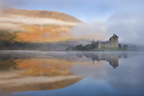 A Misty Morning Beside Loch Awe with Views to Kilchurn Castle, Argyll and Bute, Scotland. Autumn Photographic Print by Adam Burton