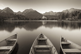 Rowing Boats and Mountains Beneath a Twilight Sky, Strbske Pleso Lake in the High Tatras, Slovakia Photographic Print by Adam Burton